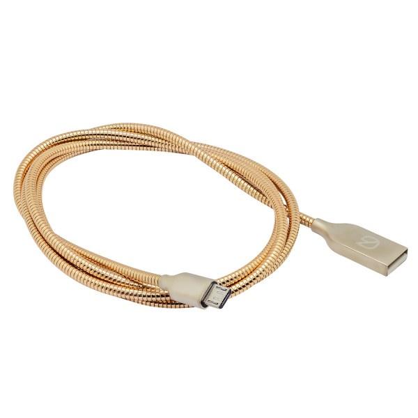 Кабель для зарядки мобильных устройств и передачи данных с плоскими коннекторами. Провод из цинкового сплава Micro USB к USB A GZ electronics GZ-A064-M-GD все цены