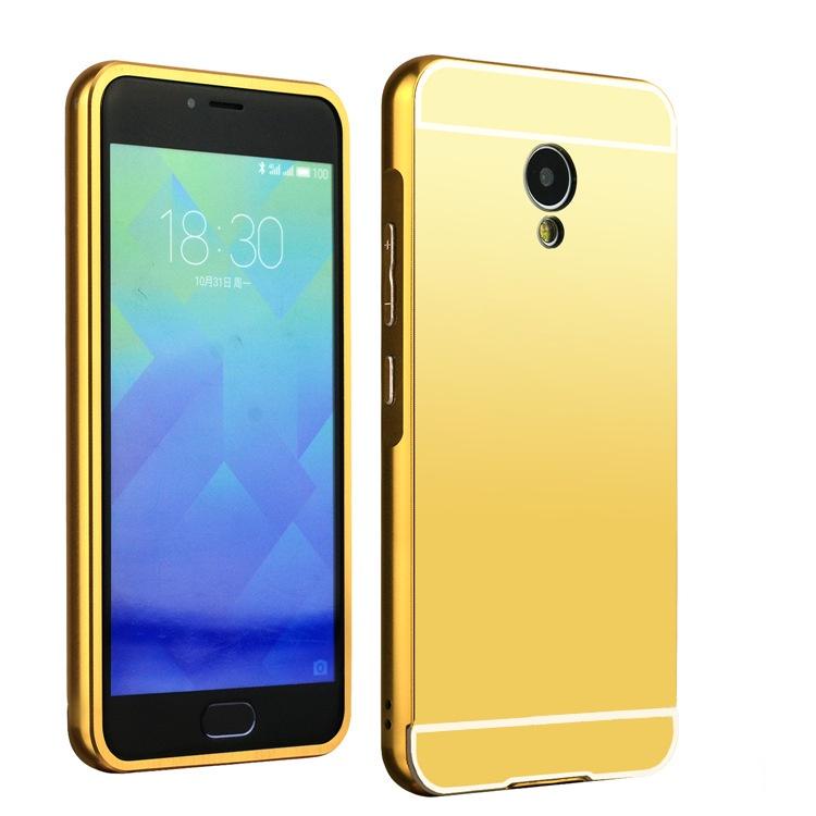 Чехол-бампер MyPads для Huawei Honor 6X c алюминиевым металлическим бампером и поликарбонатной накладкой золотой