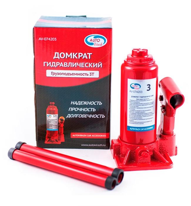 Домкрат гидравлический 3 т бутылочный в коробке AUTOVIRAZH (красный), шт