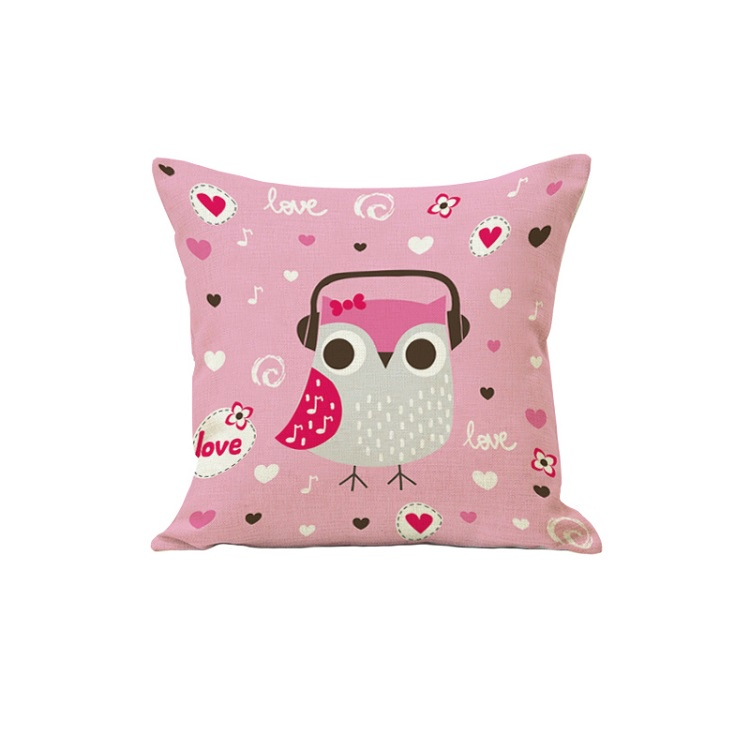 Декоративная подушка, льняная наволочка, розовая, 45х45 см