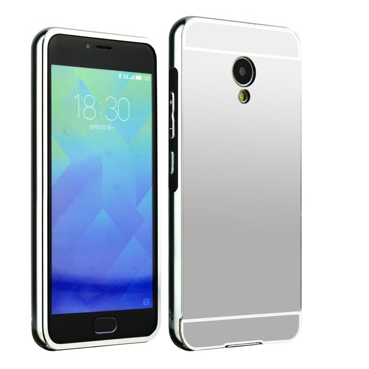 Чехол-бампер MyPads для Huawei Honor 6X c алюминиевым металлическим бампером и поликарбонатной накладкой серебристый