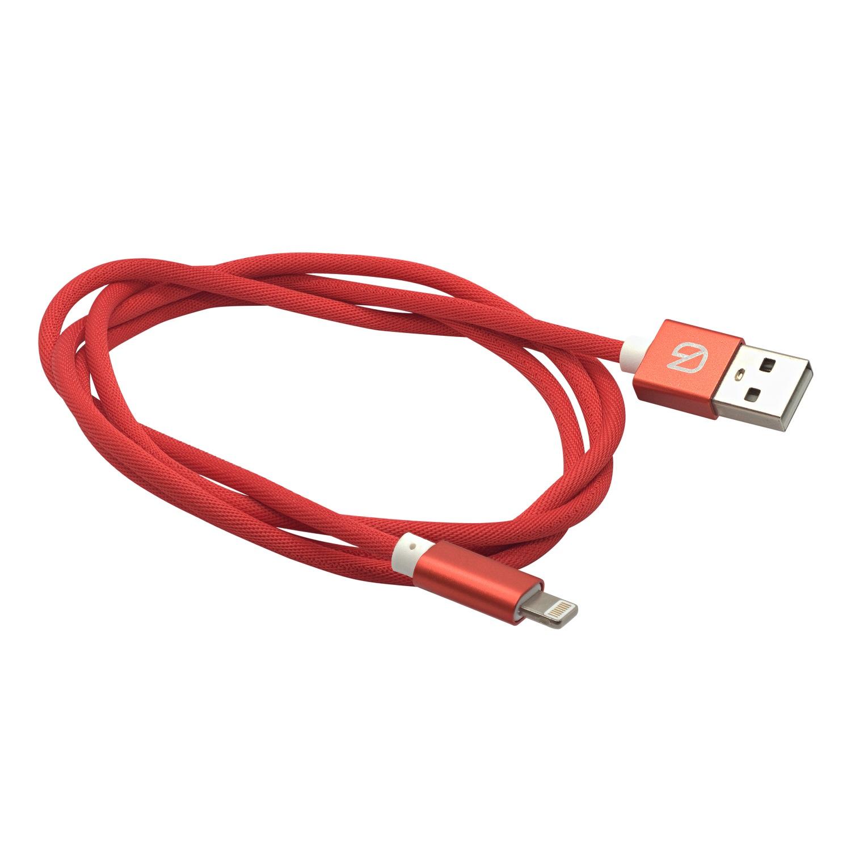 Кабель из плетёной ткани для зарядки мобильных устройств и передачи данных Lightning to USB A, GZ electronics, GZ-A051-L-RD