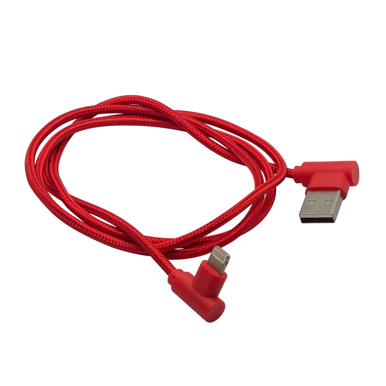 Кабель угловой для зарядки мобильных устройств и передачи данных, материал: плетёный нейлон  Lightning к USB A, GZ electronics, GZ-A062-L-RD