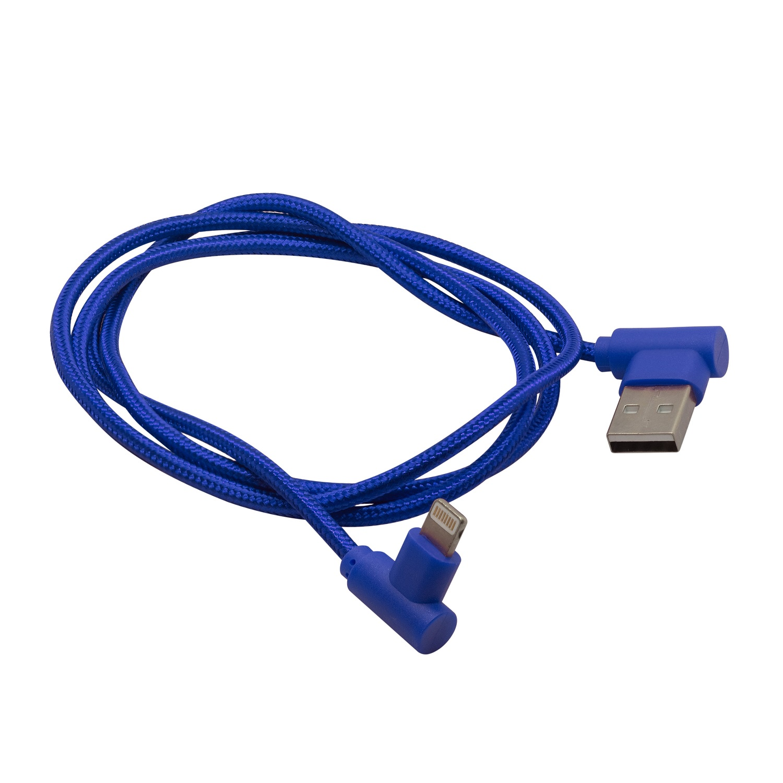 Кабель угловой для зарядки мобильных устройств и передачи данных, материал: плетёный нейлон  Lightning к USB A, GZ electronics, GZ-A062-L-BL