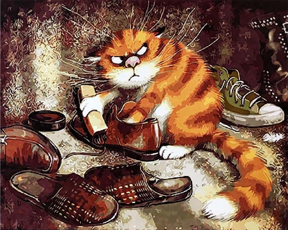 "Картина по номерам Paintboy (Original) ""Кот чистит ботинки ..."