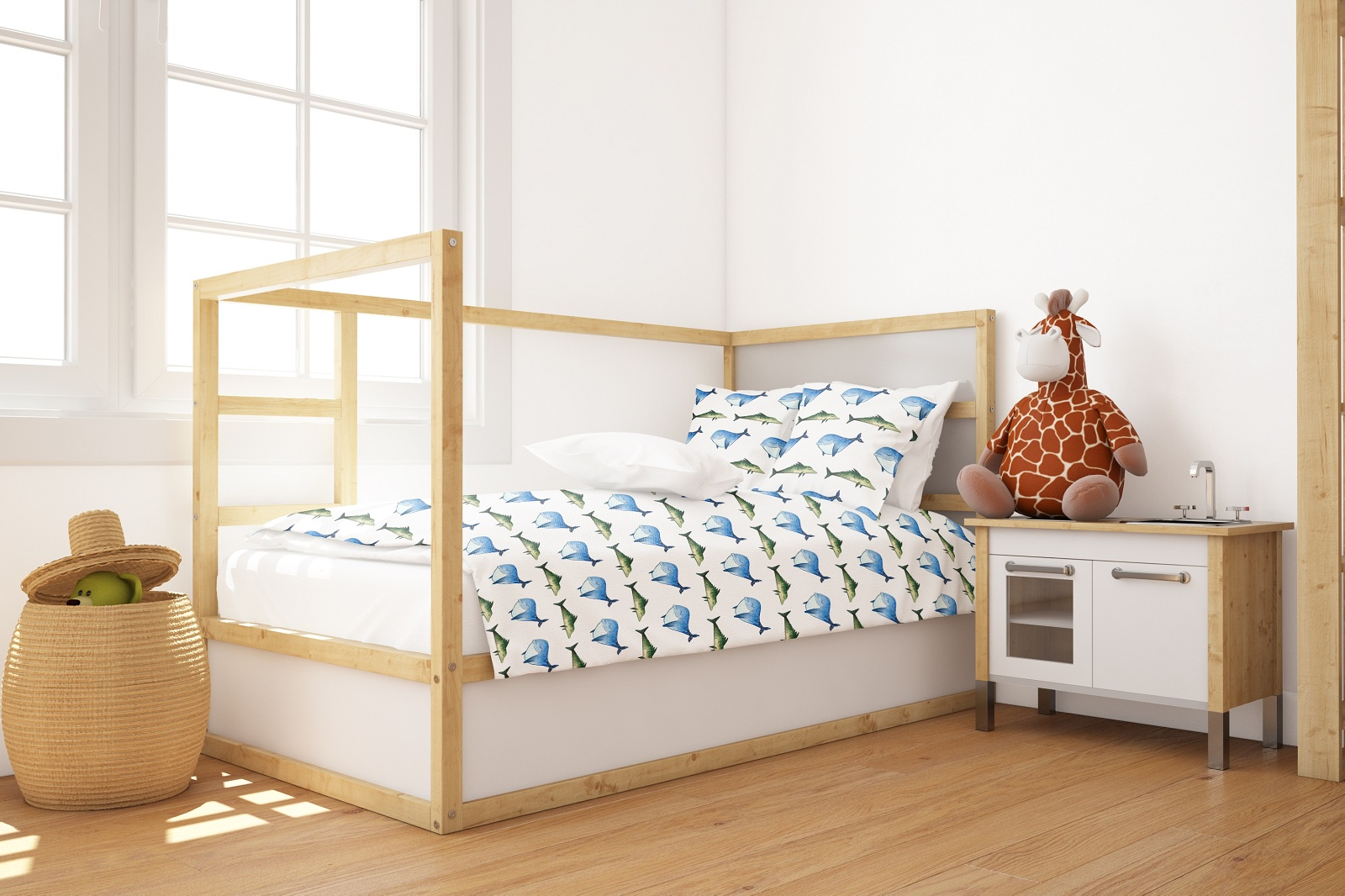 Комплект постельного белья Marengotextile Акварельные рыбки, полуторный пододеяльник коллекция котик бязь 1 5 спальный 150х210 см