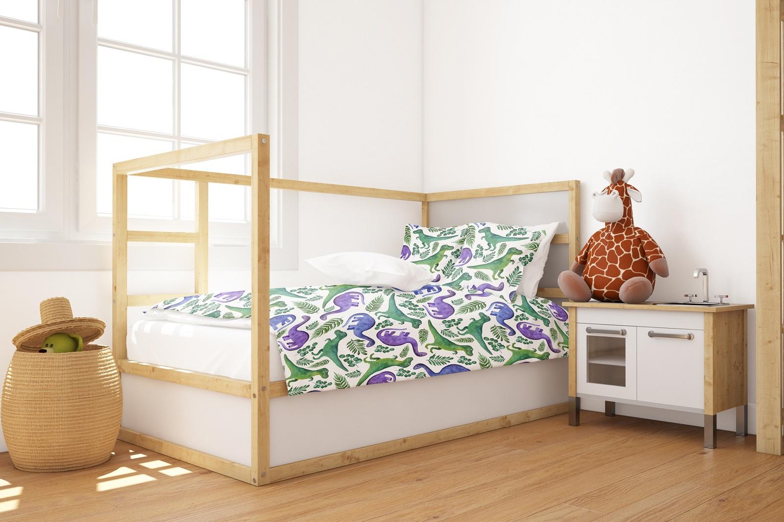 Комплект постельного белья Marengotextile Акварельные динозаврики, полуторный пододеяльник коллекция котик бязь 1 5 спальный 150х210 см