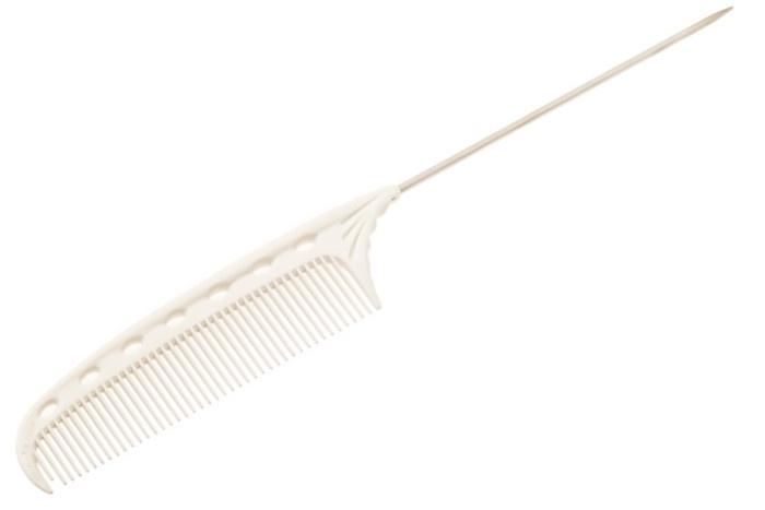 Расчёска Y.S.PARK супер короткая белая с металлическим хвостиком (стандартные зубцы) YS-103 white