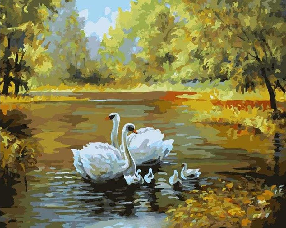 Картина по номерам Paintboy Original Лебеди на осеннем пруду 40х50см