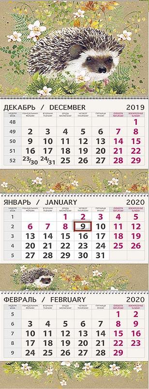 Календарь Арт Дизайн Квартальный Ёжик 2020