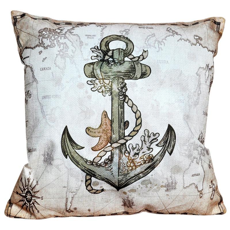 Декоративная подушка в морском стиле Якорь 40x40 см, Хлопок, Холофайбер цена