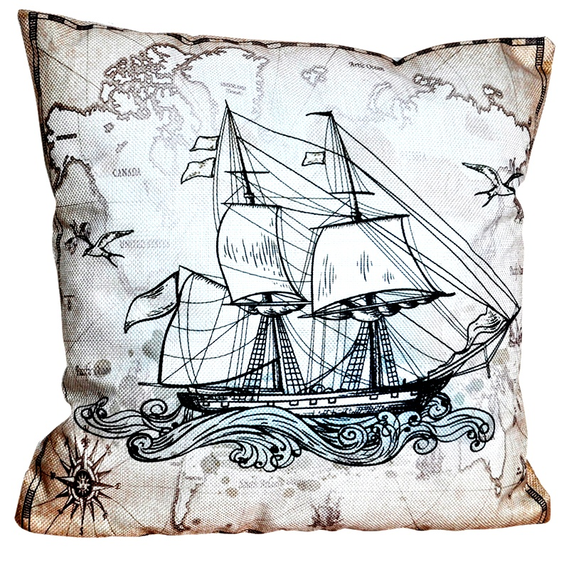 Декоративная подушка в морском стиле Парусник 40x40 см, Хлопок, Холофайбер цена