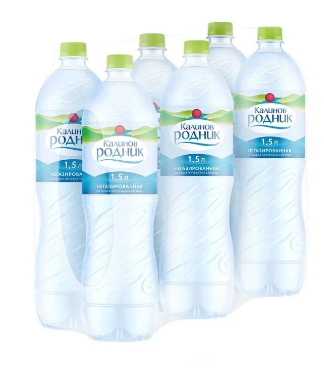 Вода Калинов Родник питьевая артезианская негазированная, 1,5л (упаковка 6шт)
