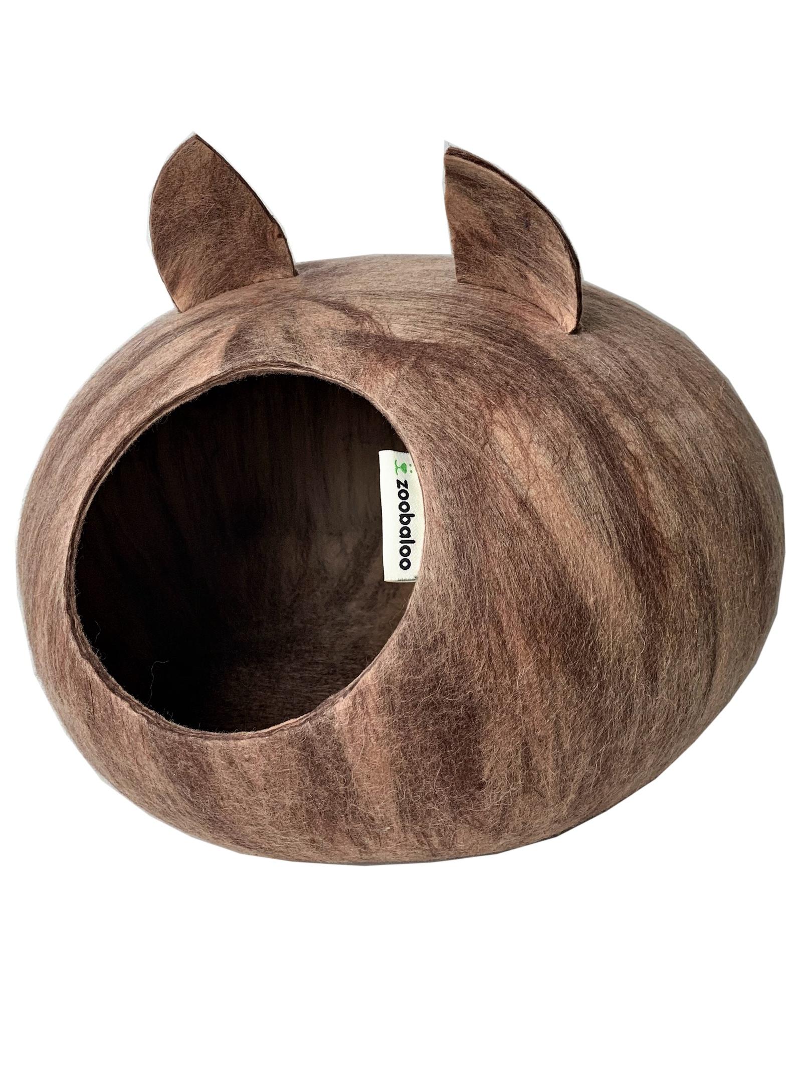 Домик для кошек и собак WoolPetHouse с ушками, розовый жемчуг, L домик слипер для животных zoobaloo woolpethouse с ушками цвет синий размер l