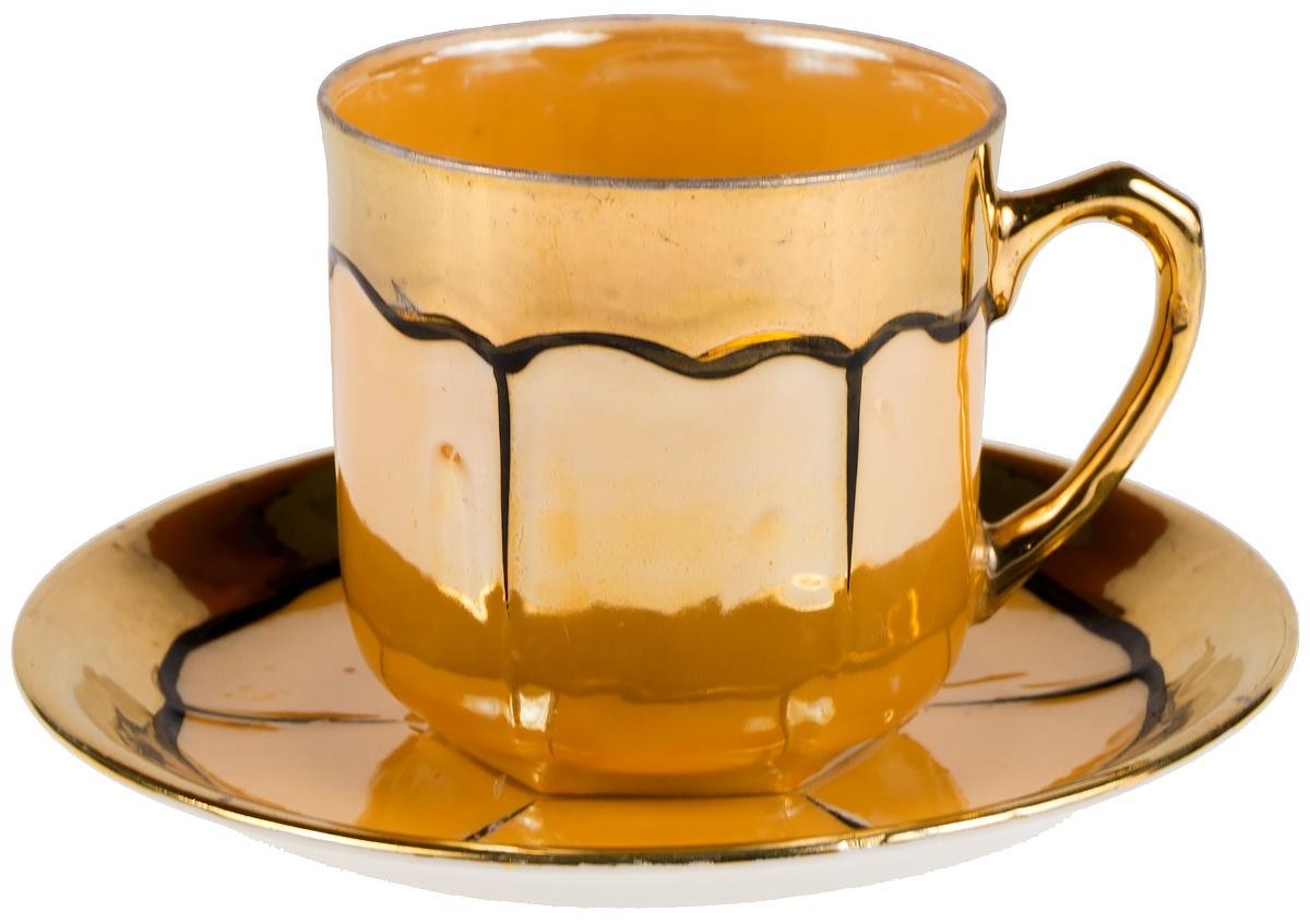"""Кофейная пара """"Карамель"""". Фарфор, золочение, люстр. Япония, вторая половина 20 века"""