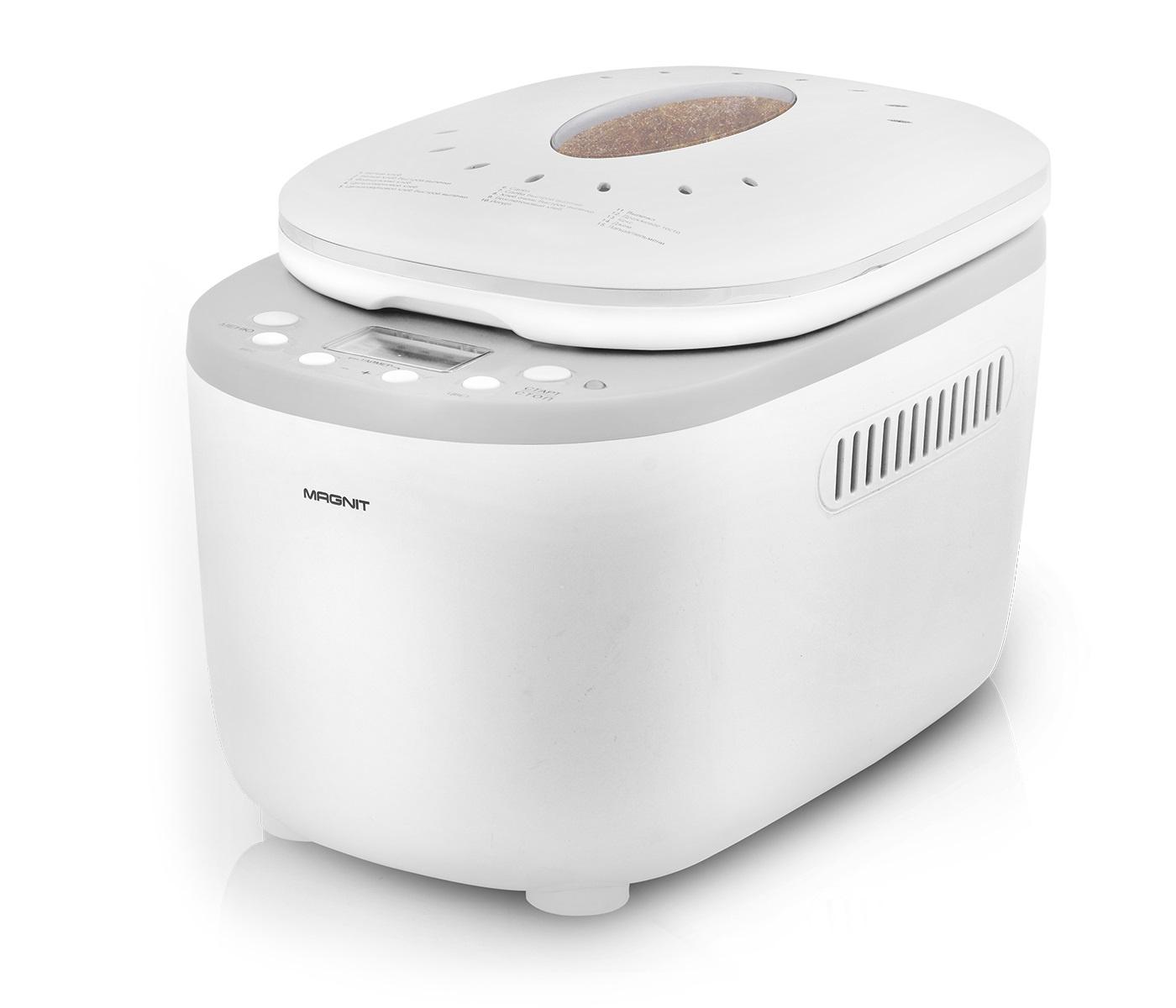Хлебопечь Magnit, 1000 Вт, отложенный старт, 15 автомат. программ, 3 уровня поджар. корочки