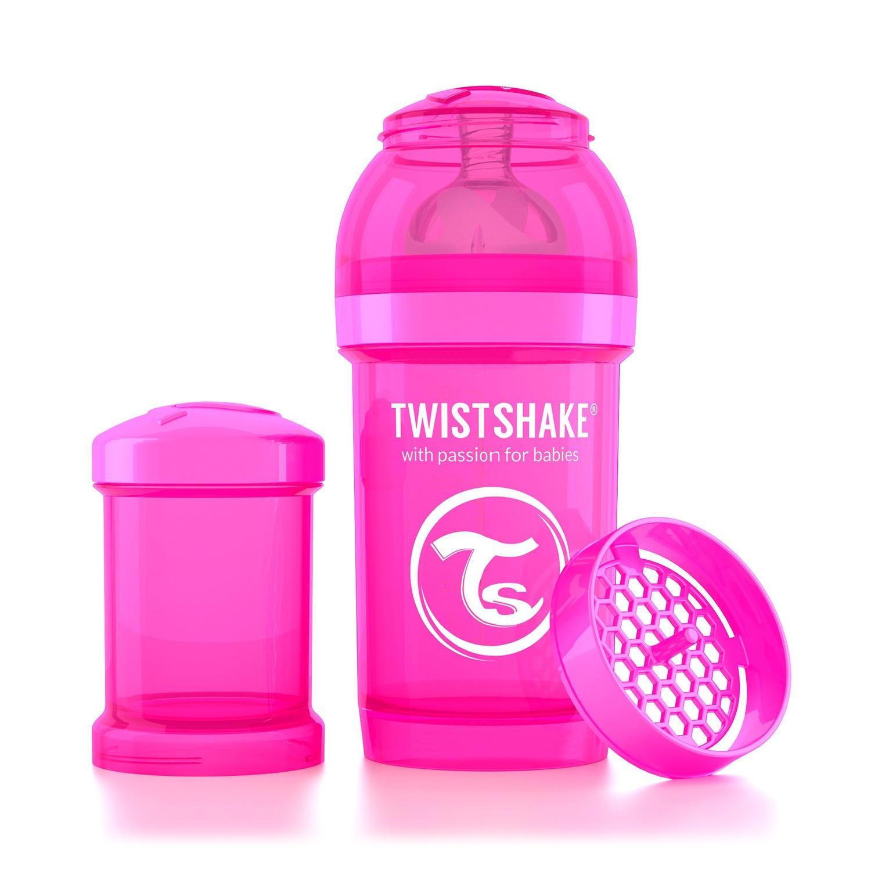 Twistshake Антиколиковая бутылочка для кормления 180 мл. Розовая Обезьянка (Crazymonkey). все цены