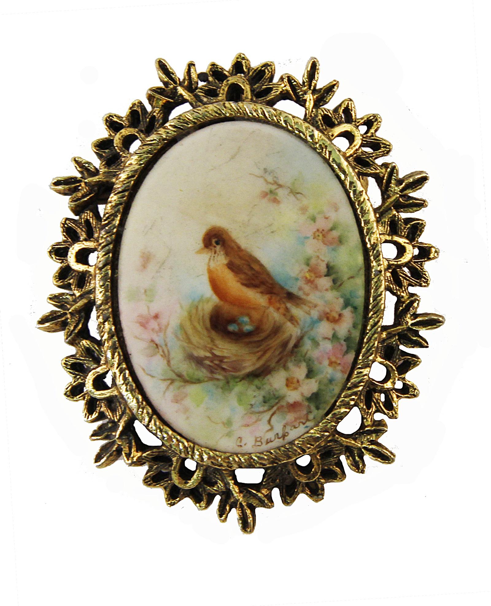 Брошь Птица счастья. Бижутерный сплав, фарфор, роспись. Франция, конец ХХ века. брошь птица