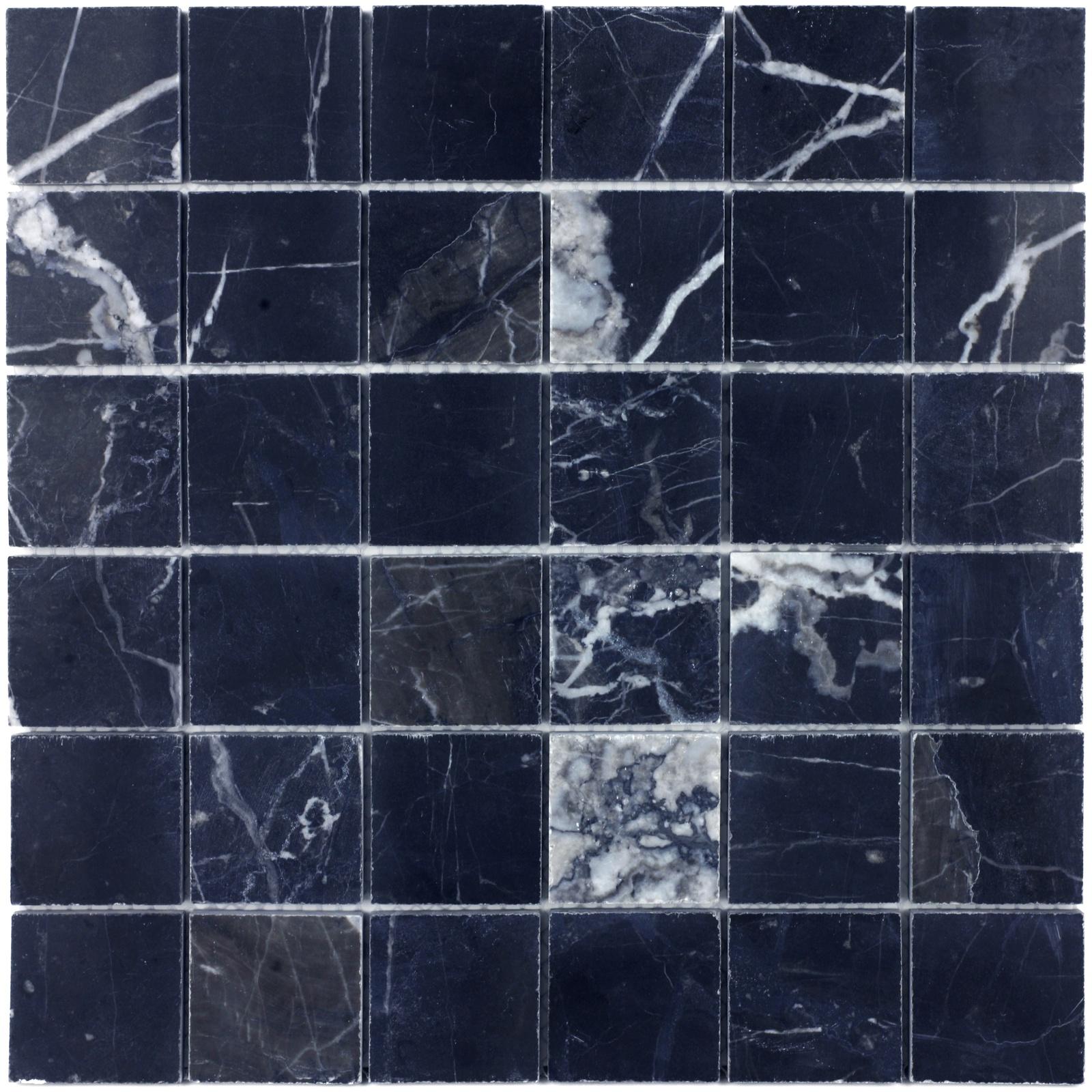 Мозаика из натурального камня Nero marquina POL 48x48x7 настенная плитка atlas concorde marvel stone nero marquina 50x110