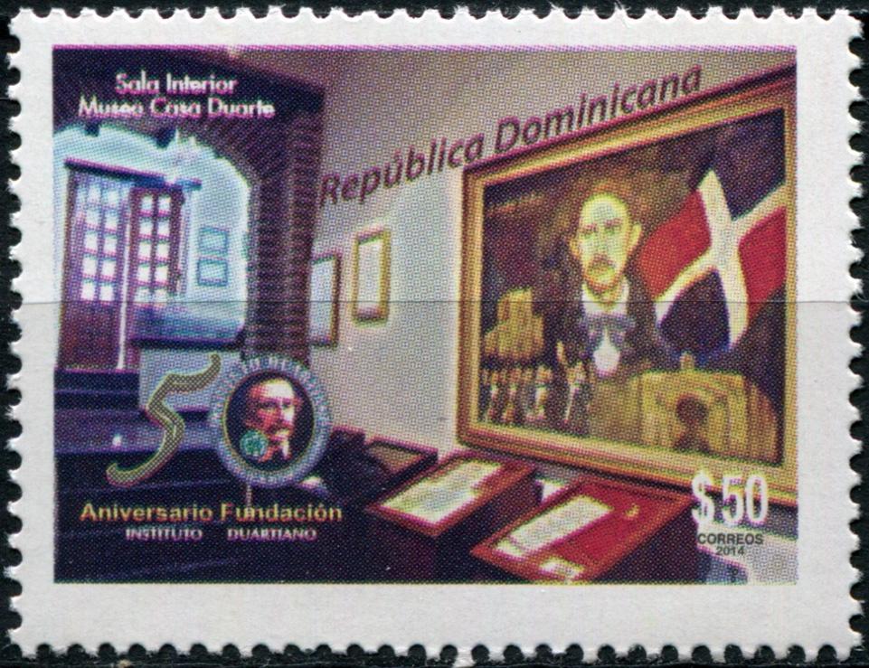 Доминиканская республика. 2014. 50 лет основанию музея памяти Хуано Пабло Дуарте (Почтовая марка. MNH OG)