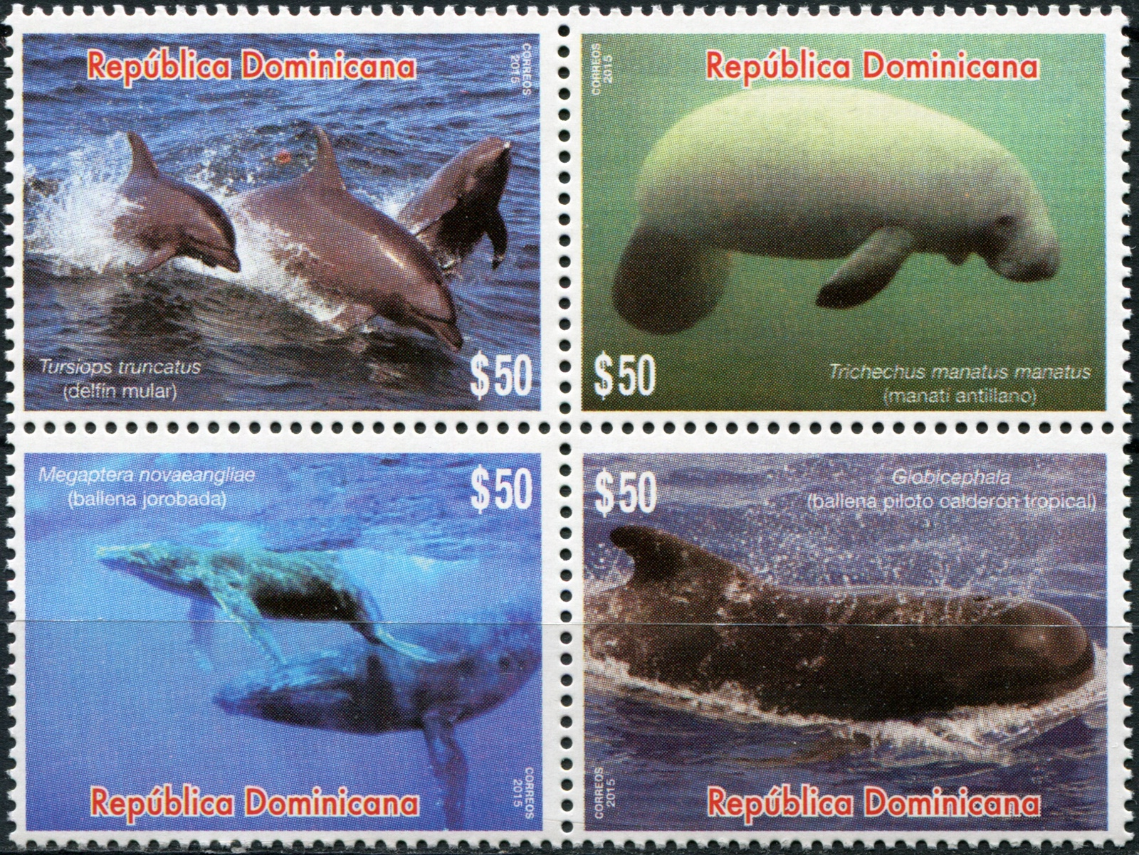 Доминиканская республика. 2015. Морские млекопитающие (Квартблок. MNH OG)
