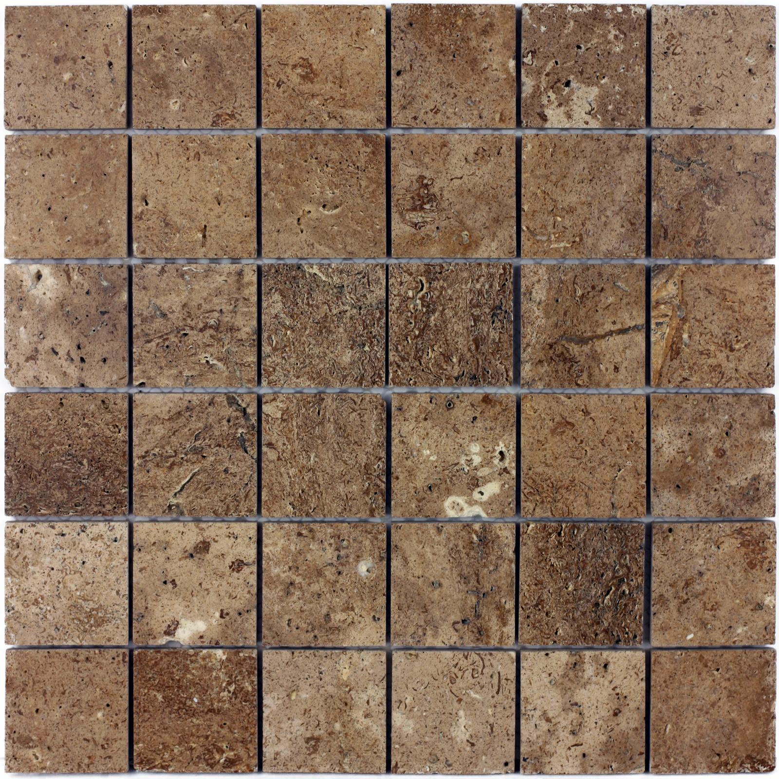 Мозаика из натурального камня Travertino Brown POL 48x48 цена