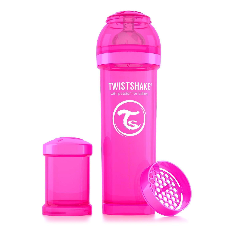 Twistshake Антиколиковая бутылочка для кормления 330 мл. Розовая Обезьянка (Crazymonkey). все цены