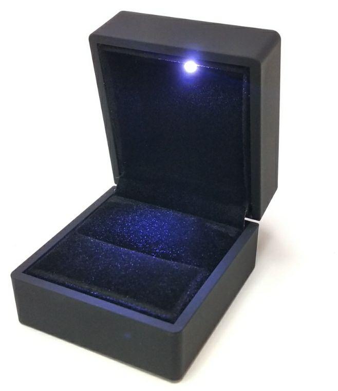 Футляр коробка для обручальных колец и запонок с подсветкой, цвет: черный