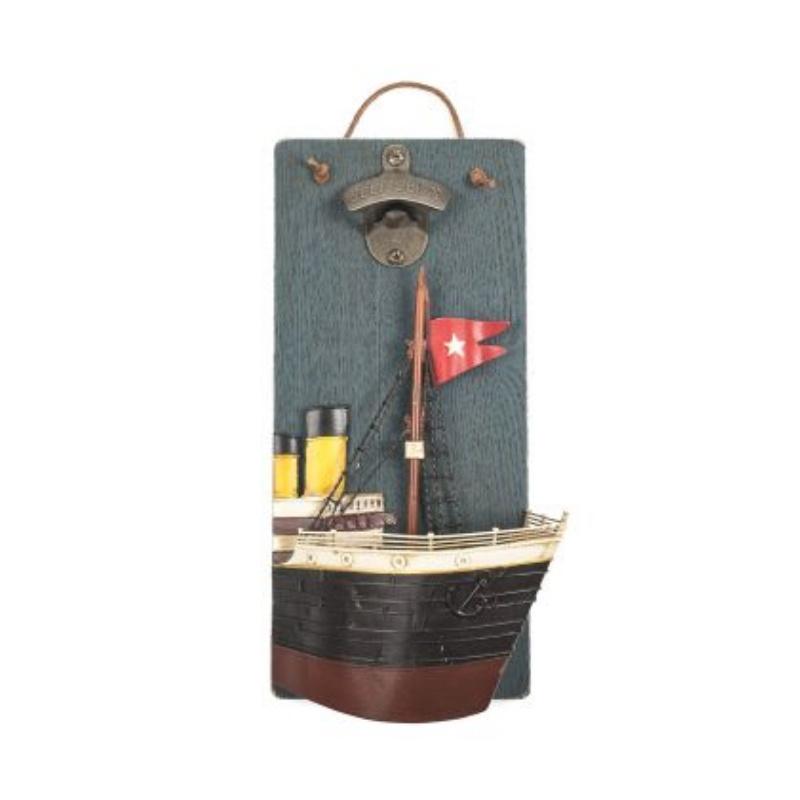 Декоративное настенное панно Корабль, открывалка бутылок, 34х18 см, Дерево, Металл панно декоративное настенное элегия 53 3 5 65см металл белая упаковка