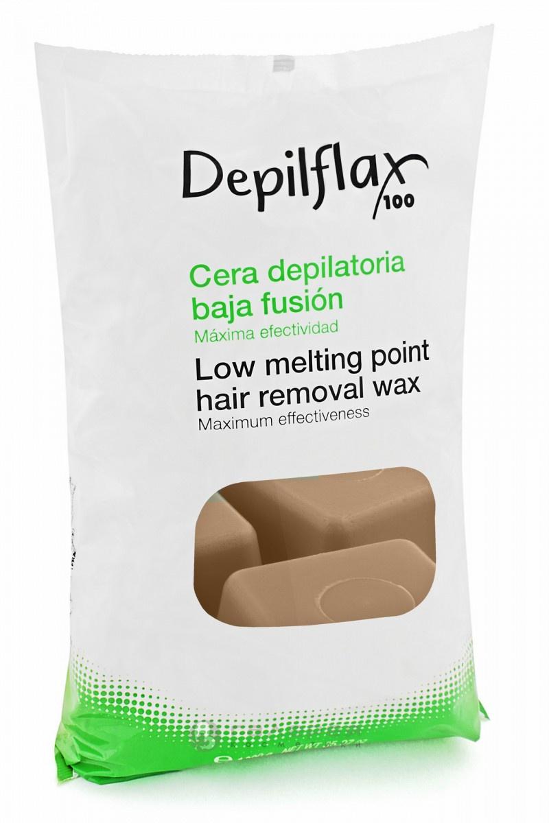Воск Depilflax горячий в брикетах, в пакете, капучино, 1000гр воск для эпиляции горячий