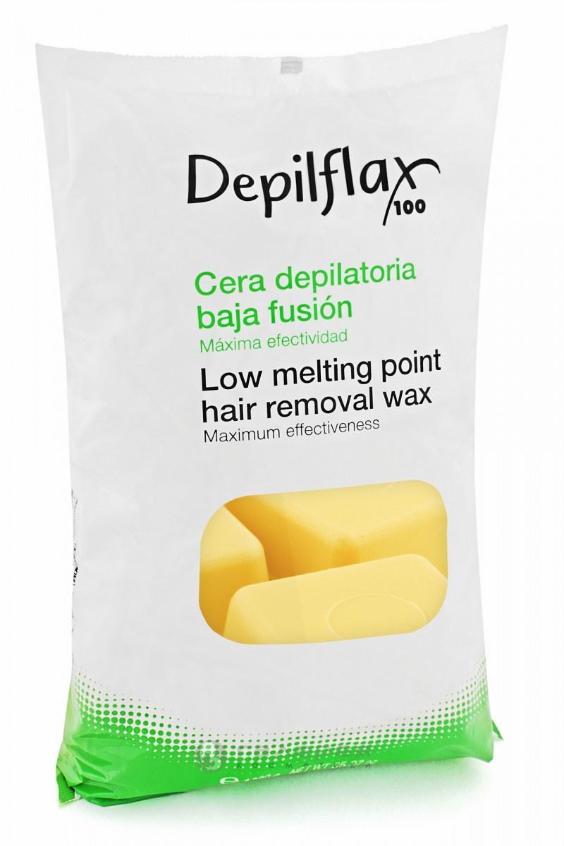 Воск Depilflax горячий в брикетах, в пакете, натуральный, 1000гр воск для эпиляции горячий