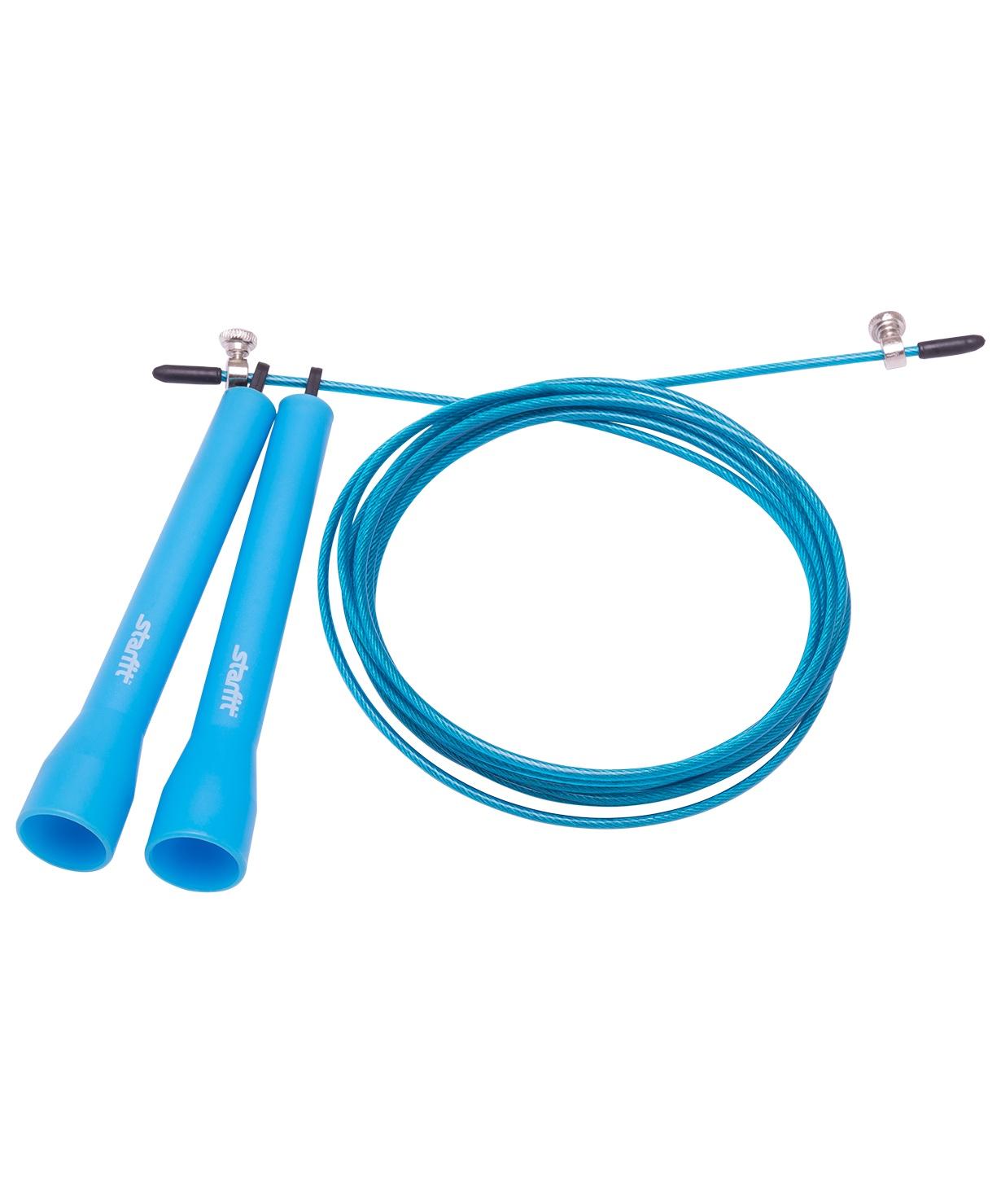 Фото - Скакалка STARFIT RP-202 ПВХ скоростная, синий, 3,1м 1/50 скакалка starfit rp 104 с подшипниками цвет синий черный длина 3 05 м