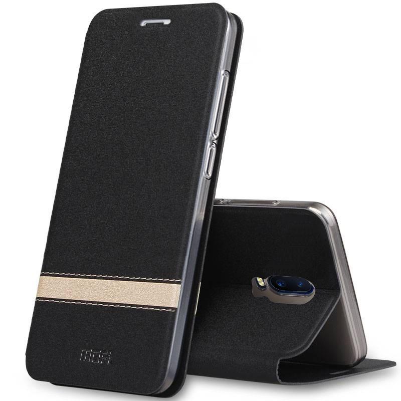 Чехол-книжка MyPads для OnePlus 7 Pro водоотталкивающий с мульти-подставкой на жёсткой металлической основе черный с золотой полосой