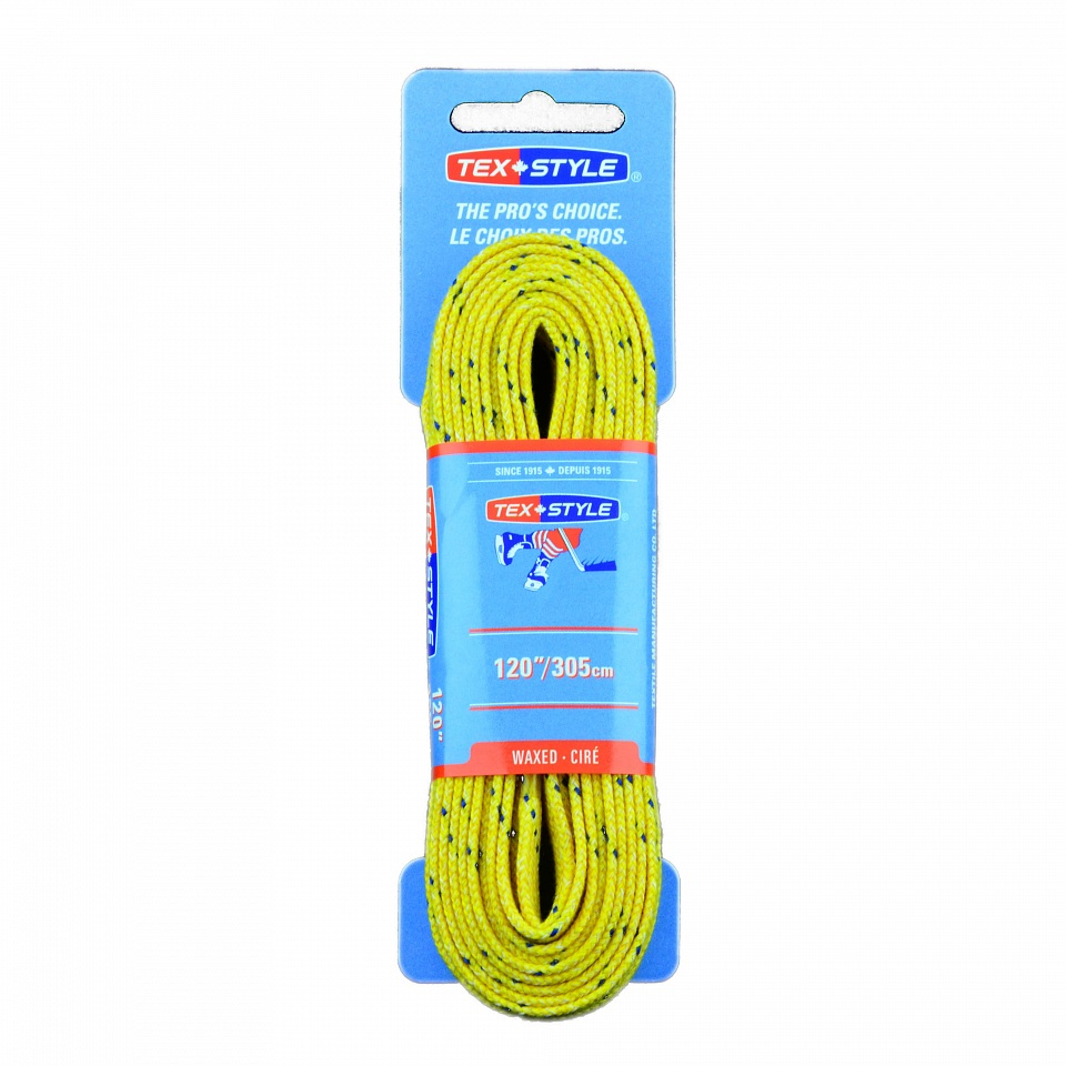 "Шнурки с пропиткой Texstyle Yellow Blue Line Waxed PT 96"" (244 см.), Желтый Yellow"