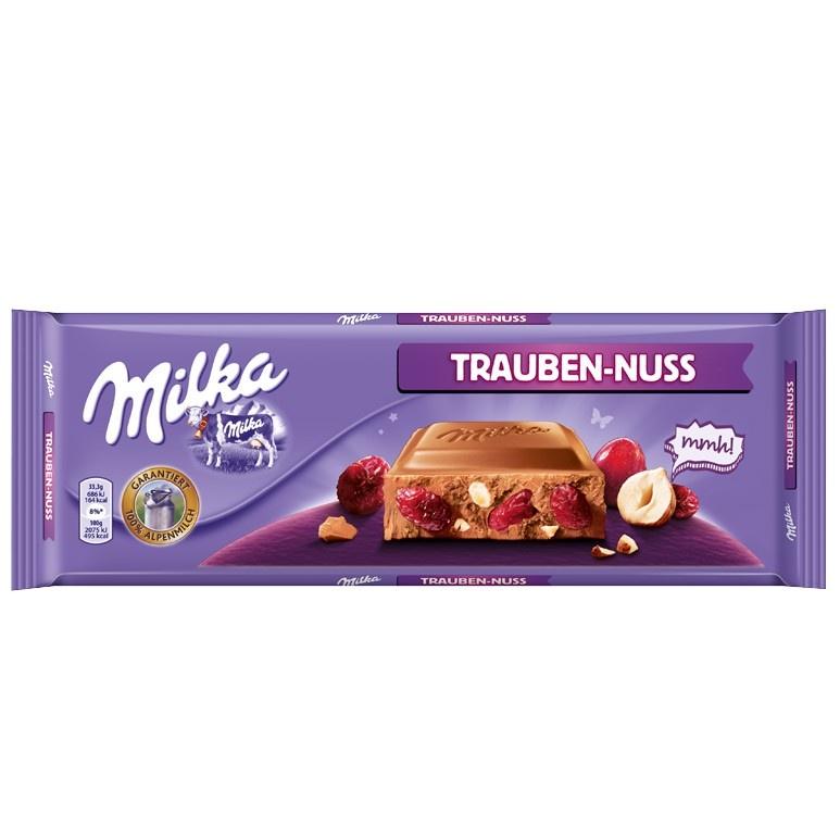Плиточный шоколад Milka Гигантская плитка Raisins-Hazelnut, 270 гр