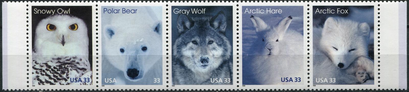 США. 1999. Арктические животные (Сцепка почтовых марок. MNH OG) юрий слёзкин арктические зеркала
