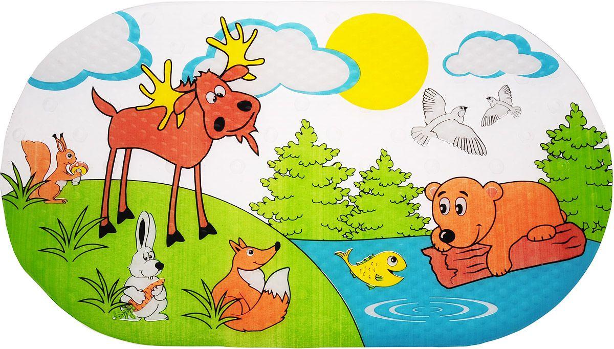 Коврик для ванны ЛЕСНЫЕ ЖИВОТНЫЕ (69*39 см) на присосках valiant коврик для ванны на присосах противоскольз 69 39 см egypt symbols
