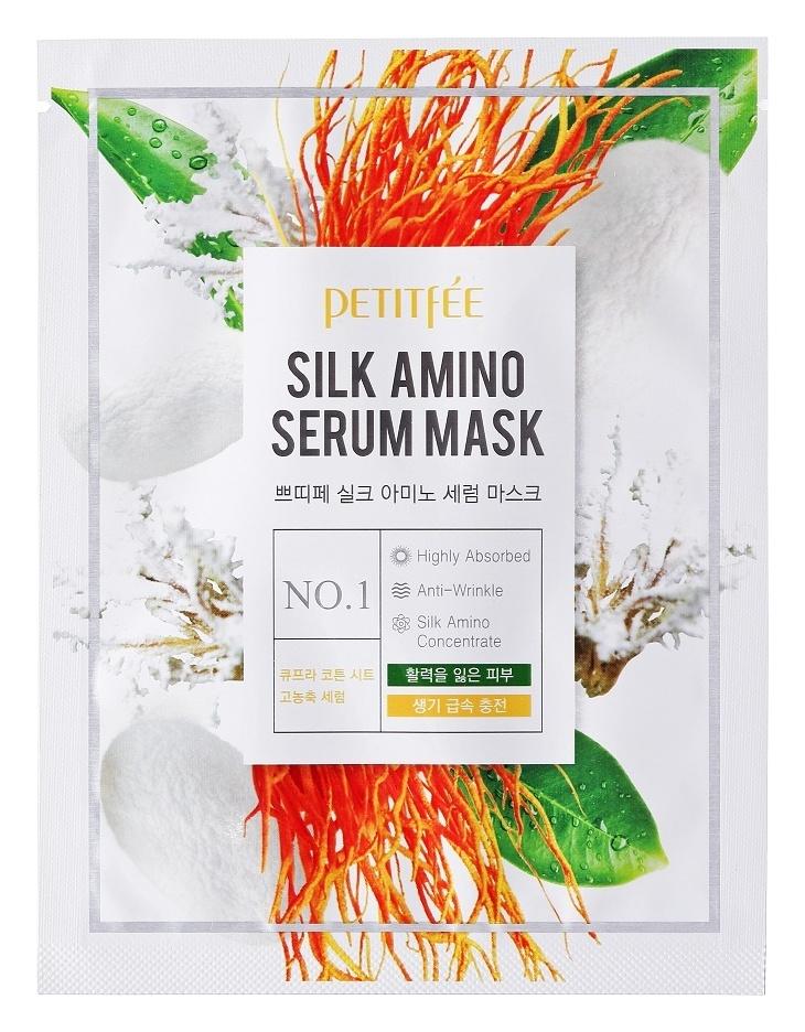 Тканевая маска для лица Petitfee Silk Amino Serum Mask 10х25 г