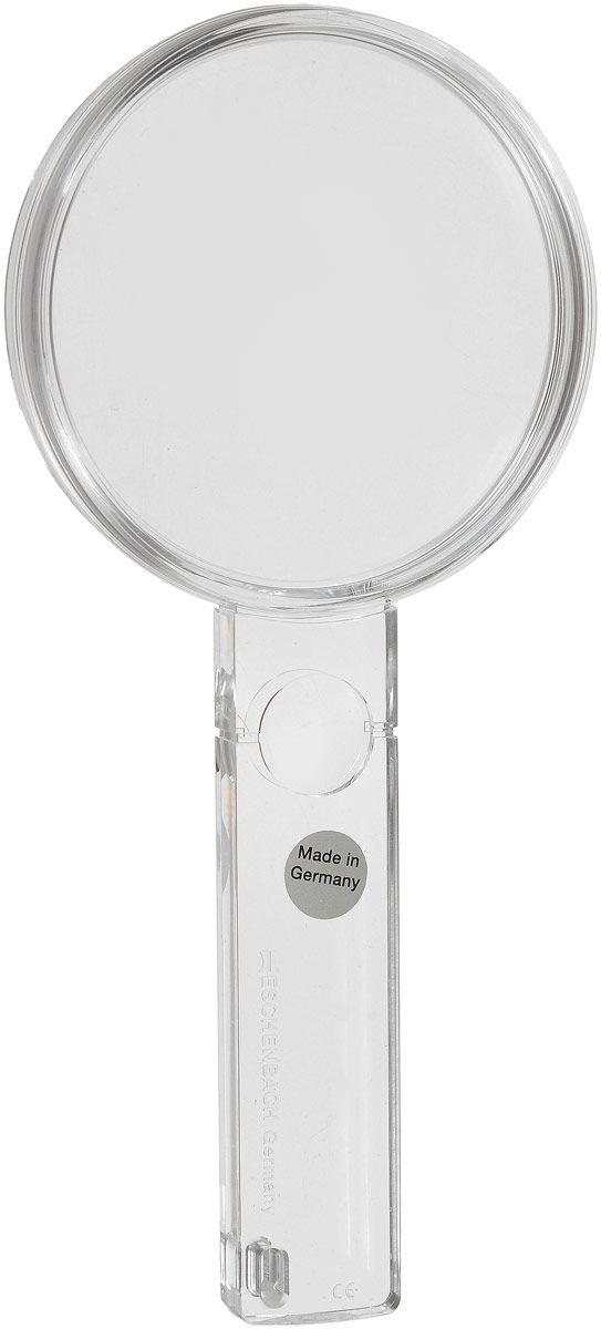Лупа двояковыпуклая ручная Eschenbach, диаметр 80 мм, 2.3х, 5.3 дптр с дополнительной плоско-выпуклой линзой на рукоятке 5.0х
