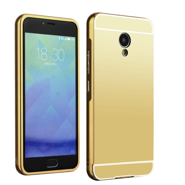 Чехол-бампер MyPads для Huawei Honor 5X c алюминиевым металлическим бампером и поликарбонатной накладкой золотой