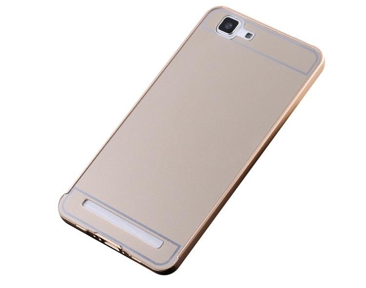 Чехол-бампер MyPads для Meizu M1 note c алюминиевым металлическим бампером и поликарбонатной накладкой золотой