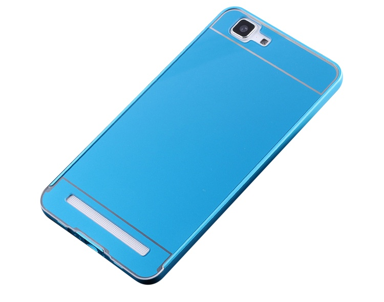 Чехол-бампер MyPads для Meizu M1 note c алюминиевым металлическим бампером и поликарбонатной накладкой голубой