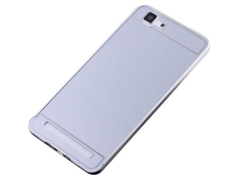 Чехол-бампер MyPads для Samsung Galaxy S6 c алюминиевым металлическим бампером и поликарбонатной накладкой серебристый