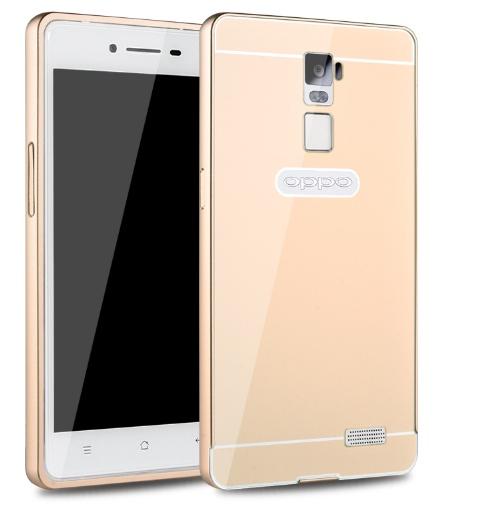 Чехол-бампер MyPads для OPPO R7 Plus c алюминиевым металлическим бампером и поликарбонатной накладкой золотой