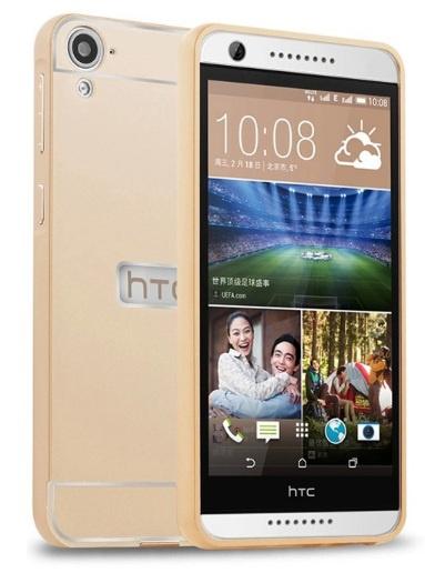 Чехол-бампер MyPads для HTC Desire 626 c алюминиевым металлическим бампером и поликарбонатной накладкой золотой