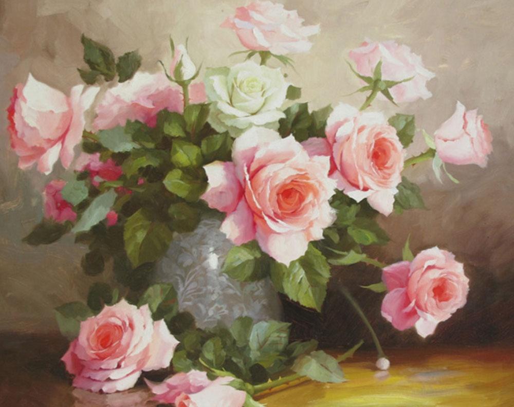 Алмазная мозаика Гранни Букет нежных роз, 48x38 см