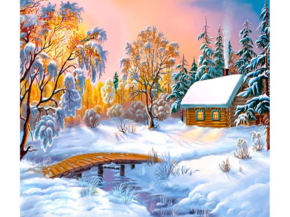 Зимний пейзаж с домиками картинки, открытка днем