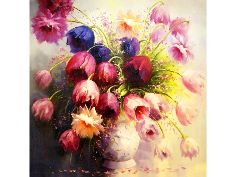 Алмазная мозаика Color KIT Букет тюльпанов, 40x40 см