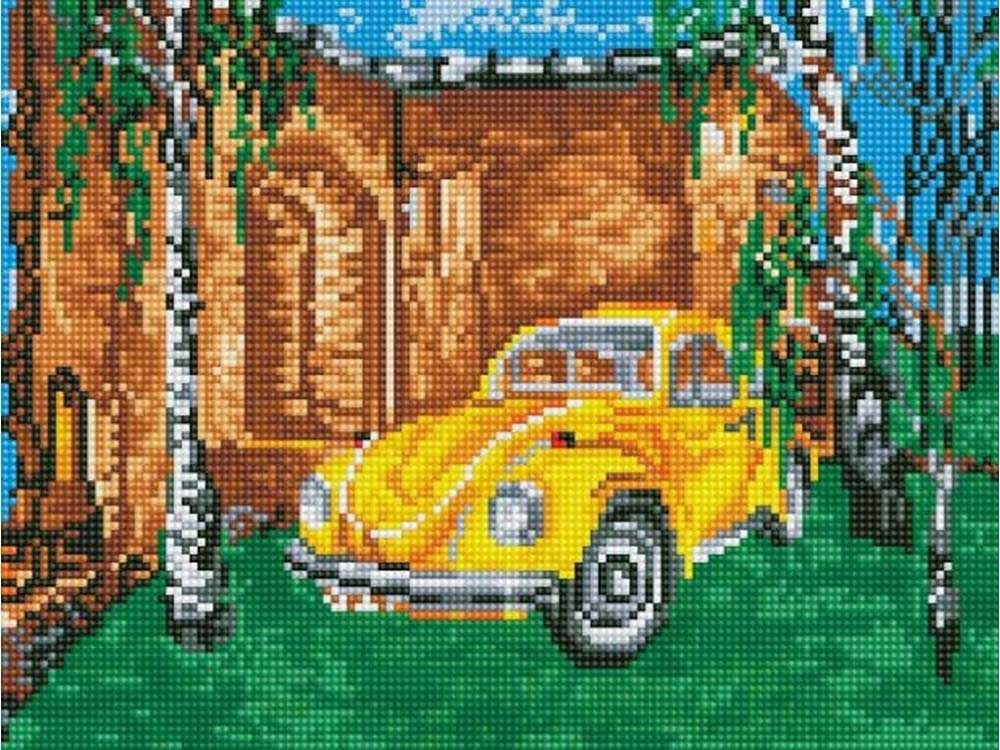 Алмазная мозаика ТМ Цветной Желтое авто среди берез, 30x40 см для продажи авто что нужно