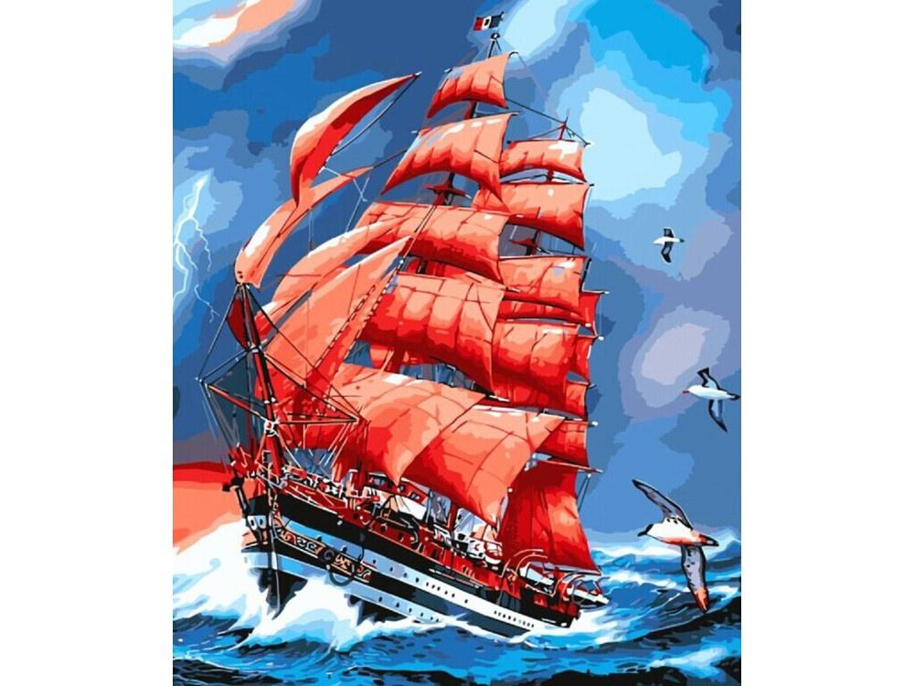 Алмазная мозаика ТМ Цветной Парусник Америго Веспуччи, 40x50 см clementoni пазл hq парусник америго веспуччи 500 деталей